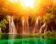 Шпалери загадкових Водоспадів Природа, Водоспади, Гори, Ліс, Захід Сонця, Схід Сонця id40461519